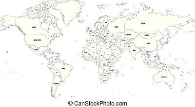 negro, contorno, vector, mapa mundo