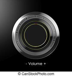 negro, control, volumen, esfera