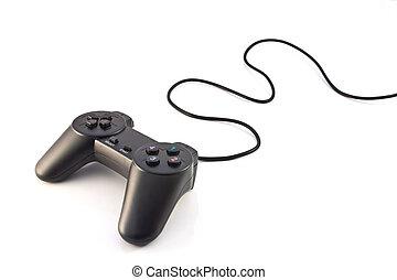 negro, controlador, plano de fondo, juego, aislado, blanco