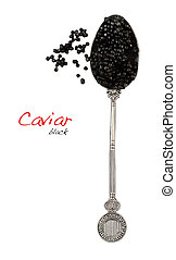 negro, cuchara, caviar
