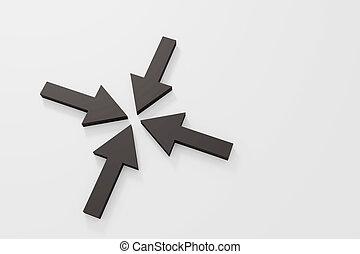 negro, dirección, flechas, Uno