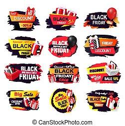 negro, diseño, aislado, viernes, banderas, sellout