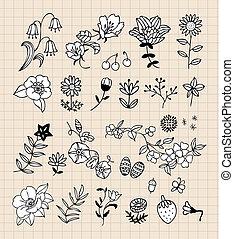 negro, diseño determinado, flor, elementos