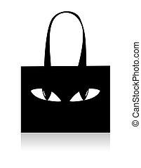 negro, divertido, ojos, bolso de compras