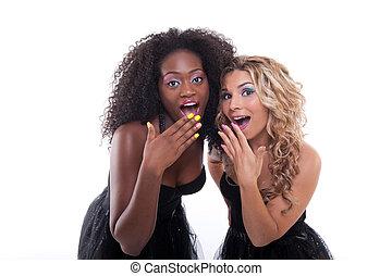 negro, dos, vestidos, mujeres