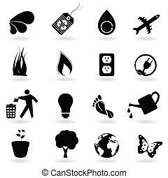 negro, eco, iconos