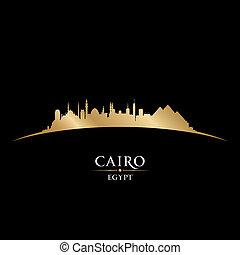 negro, egipto, plano de fondo, el cairo, contorno, ciudad, ...