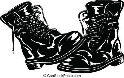 negro, ejército, botas