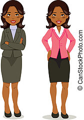 negro, ejecutivo, mujer