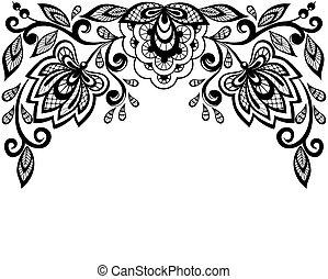 negro, encaje, flores blancas