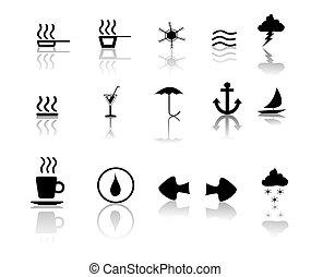 negro, encima, blanco, miscillaneous, iconos