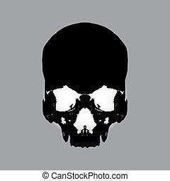 negro, eps10, cráneo humano