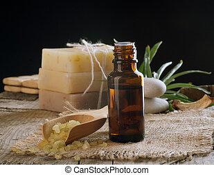 negro, esencial, aislado, treatment., oil., balneario