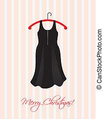 negro, especial, vestido, tarjeta de navidad