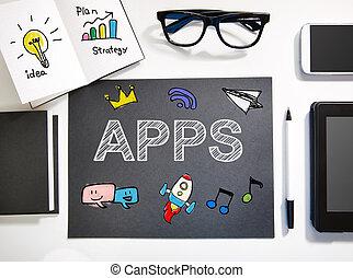 negro, estación de trabajo, concepto, apps, blanco