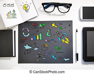 negro, estación de trabajo, concepto, creatividad, blanco