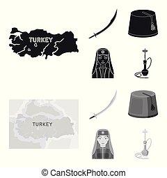 negro, estilo, conjunto, turco, turco, símbolo, iconos,...