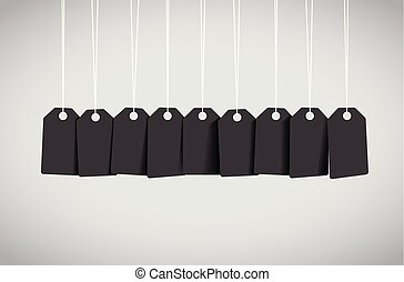 negro, etiqueta, conjunto