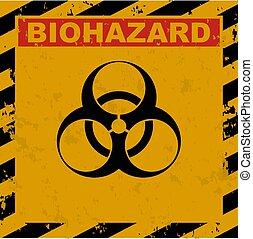 negro, etiqueta, usado, vector, biohazard, amarillo, ...