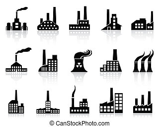negro, fábrica, iconos, conjunto