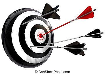 negro, flechas, blanco, rojo