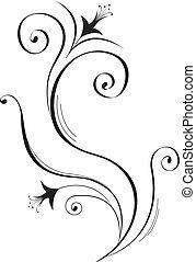 negro, flor, silueta, white.