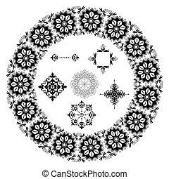 negro, floral, vector, elementos