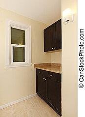 negro, gabinetes, marrón, esquina, nuevo