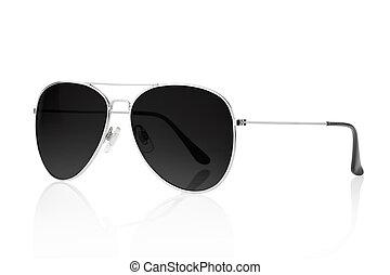 negro, gafas de sol, aviador