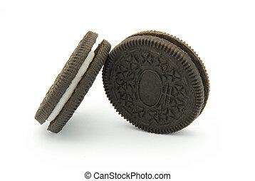 negro, galletas, crema