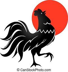 negro, gallo, con, sol de la mañana
