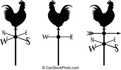 negro, gallo joven, silueta