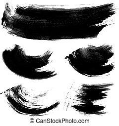 negro, golpes, textura, gouache, 1, realista