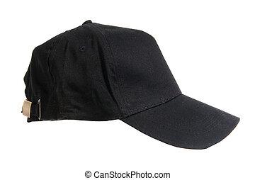 negro, gorra, beisball, blanco