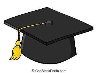 negro, gorra, graduación
