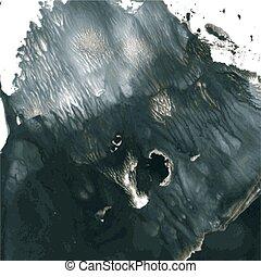 negro, gouache, pintura, 2, monotypy