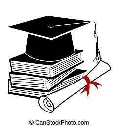 negro, graduación, plano de fondo