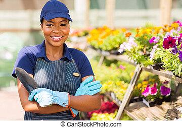 negro, guardería infantil, trabajador, invernadero