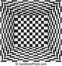 negro, habitación, paredes, plano de fondo, blanco, tablero de ajedrez