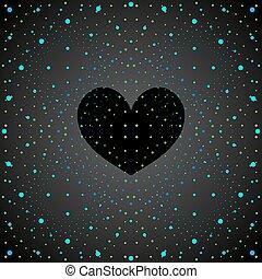 negro, heart., espacio