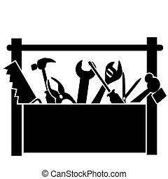 negro, herramientas, caja