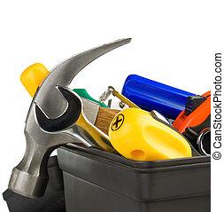 negro, herramientas, conjunto, caja de herramientas