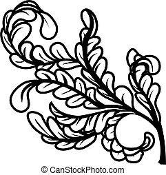negro, hojas, blanco