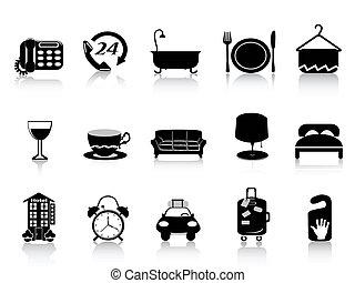 negro, hotel, iconos