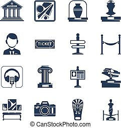 negro, icono, conjunto, museo, plano