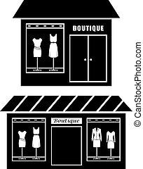 negro, icono, de, boutique