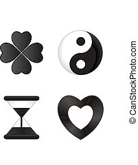 negro, iconos, blanco