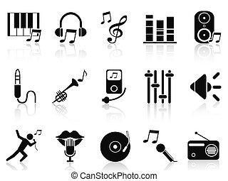 negro, iconos, conjunto, música, audio
