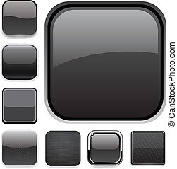 negro, icons., app, cuadrado