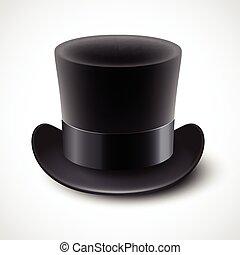 negro, ilustración, plano de fondo, aislado, sombrero, vector, cima, blanco